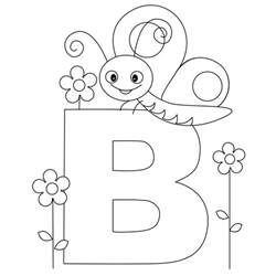 Animal alphabet letter b coloring butterfly coloring child