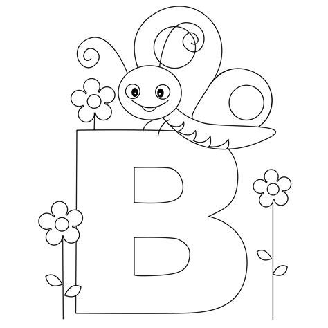 animal alphabet letter b coloring butterfly coloring