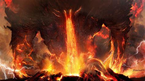 art titanium anger fire lightning lava volcano ash demon