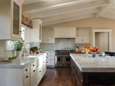 Kitchen Island Pendant by Vaulted Ceiling In Kitchen Transitional Kitchen
