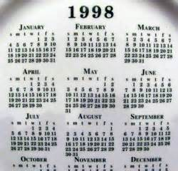 search results for year 1998 calendar with holiday