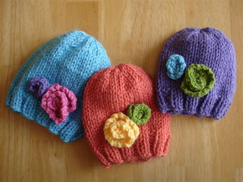 knit baby hats fiber flux free knitting pattern baby in bloom hats