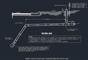 Sewer Service Sanitary Sewer Service With Tap 4 Inch Cad Files