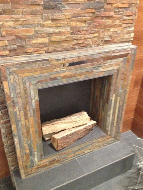 stacked tile fireplace best 25 stacked stones ideas