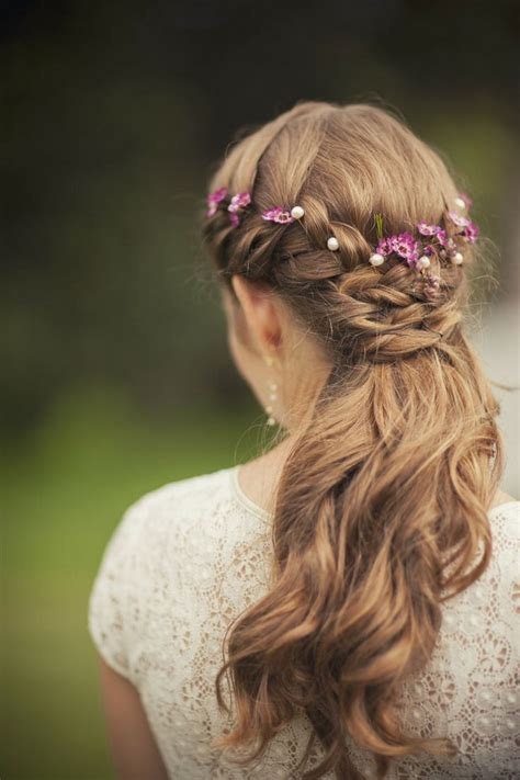 Wedding Hairstyles With Flowers by Purple Floral Crown Wedding Hair
