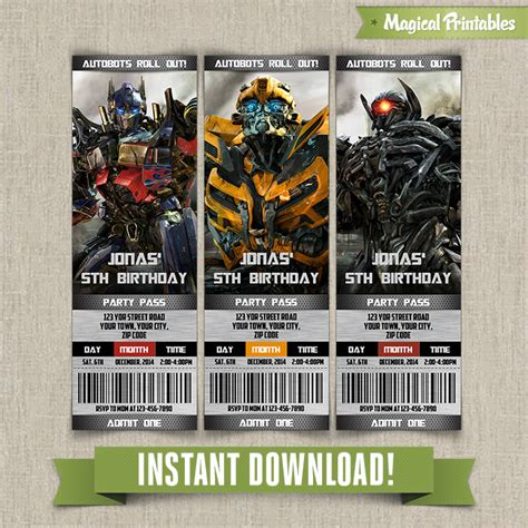 printable birthday cards transformers transformers birthday ticket invitation instant download