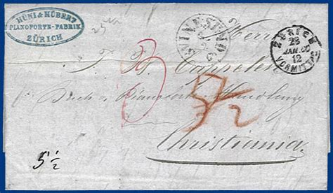 Brief Schweiz Norwegen Schweiz 1860 Porto Brief V Z 252 Rich Via Hamburg U Schweden N Norwegen S341 183 Heiner Zinoni
