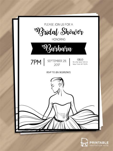 printable bridal shower invitation kits bridal shower printable bride line art wedding