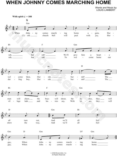 louis lambert quot when johnny comes marching home quot sheet