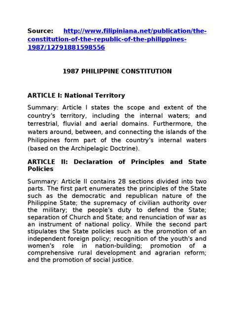 Constitution Summary By Section by 1987 Constitution Summary