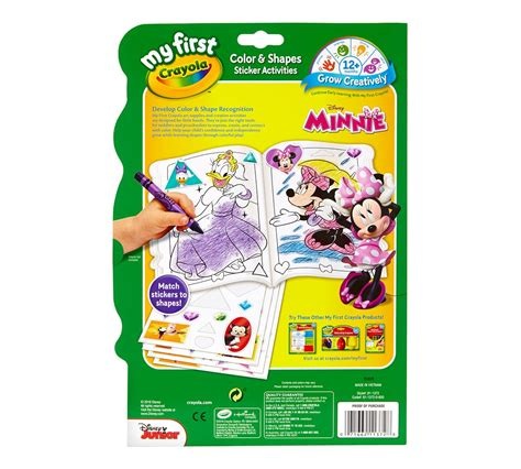 minnie coloring pages crayola my first crayola color shapes sticker activities minnie