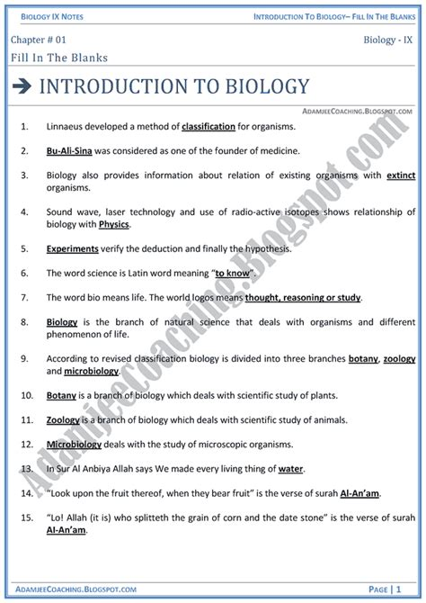 Introduction To Biology Worksheet by Introduction To Biology Worksheet Casademateo