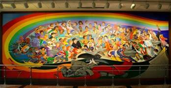 Denver Airport Wall Murals leo tanguma children of the world dream of peace 1995 detail