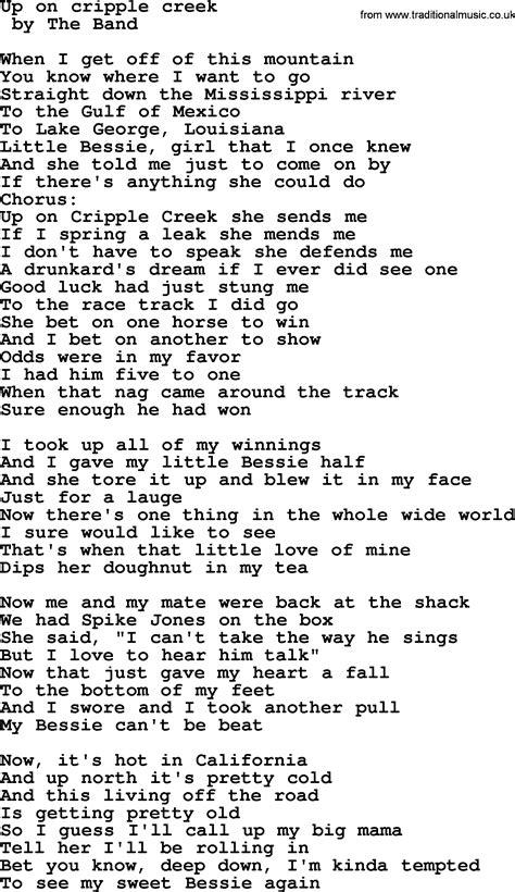 song on bruce springsteen song up on cripple creek lyrics