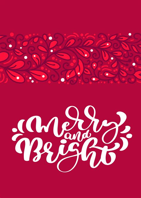 merry  bright scandinavian christmas vector calligraphy lettering text  red greeting card