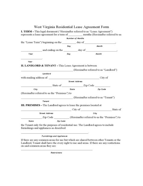West Virginia Residential Lease Agreement Form Free Download Virginia Lease Template