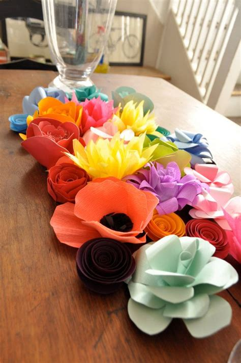 Paper Table Decorations To Make - paper flowers wedding centerpiece table decor colorful
