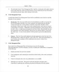 crisis plan template 8 free word pdf documents