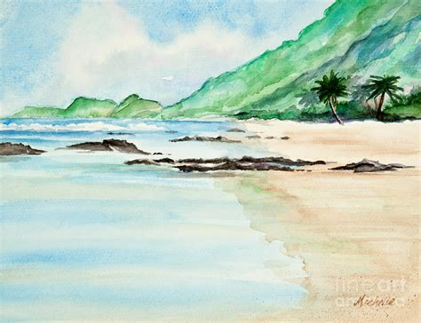 Seashore Home Decor by Secluded Tropical Beach Watercolor Painting By Michelle