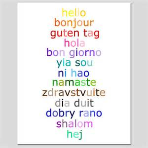 how do you say the color orange in hello 8x10 typography print with hello in different