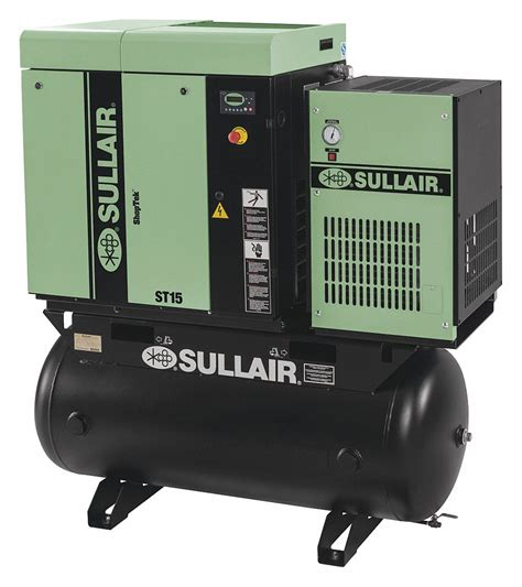 sullair 3 phase 15 hp rotary air compressor with 120 tank size 408l56 st1109rd 208 230