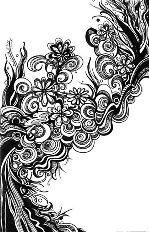 doodle pen and ink quot flowers abstract doodle pen and ink black and white