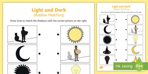 Light and Dark Shadow Matching Worksheet   light, dark, match