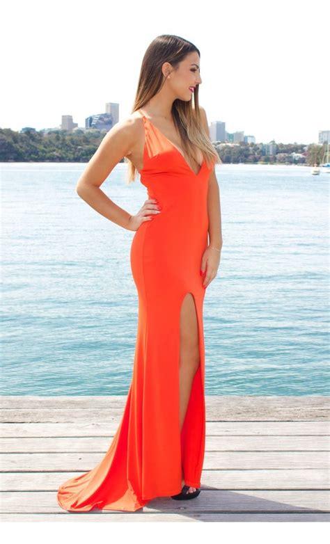 Bright Fringe Maxi Dress - bright orange maxi dress with deepv and slit