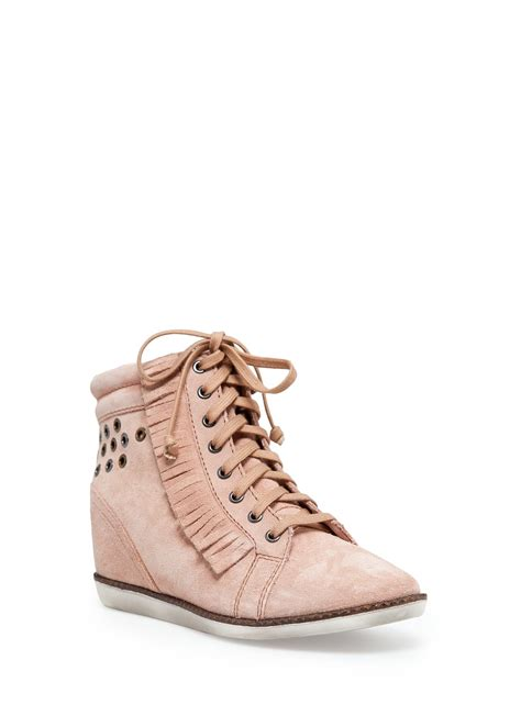 pink wedge sneakers lyst mango suede wedge sneakers in pink