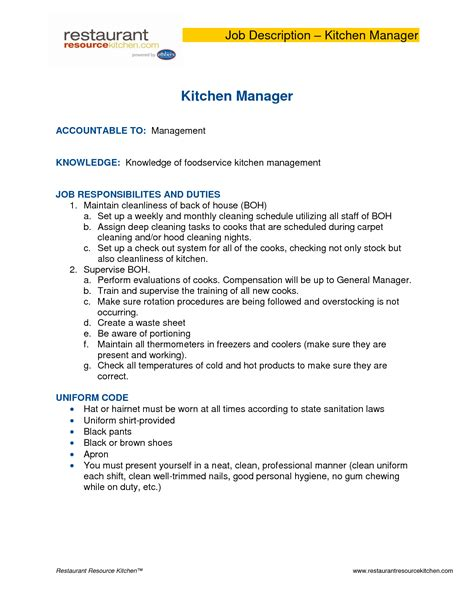 home design job description kitchen manager job description salary manager job