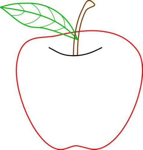 Apple Outline Png by Colored Apple Outline Clip At Clker Vector Clip Royalty Free Domain