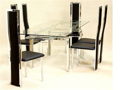 Clear Glass Dining Table And Chairs Large Clear Glass Extending Dining Table And 6 Chairs Homegenies