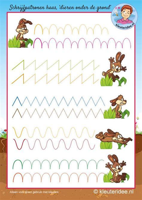 pattern writing books for nursery schrijfpatroon haas voor kleuters kleuteridee