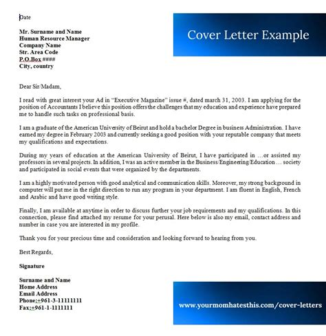 Cover Letter Format For by Cover Letter Sles