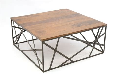 sofa dauerschläfer 773400 table basse metal fer forge et bois 90x90cm wood