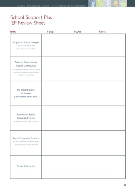 individual learning plan template for elementary students neps special needs resource pack pdf