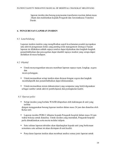 format laporan insiden polisi inisiatif keselamatan pesakit hospital changkat melin
