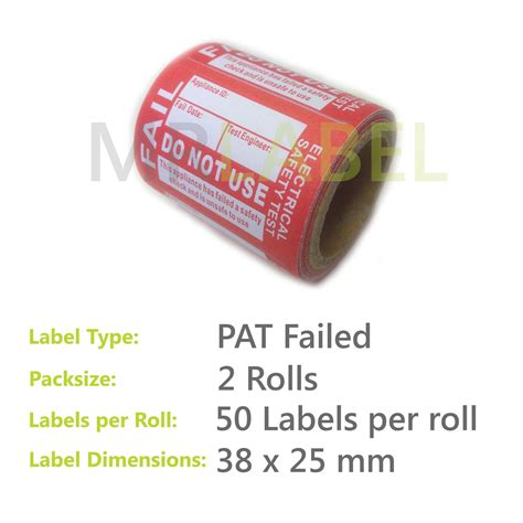 pat testing labels template 100x pat test labels failed self adhesive 2 rolls portable appliance testing