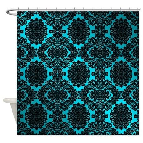 teal damask curtains black teal damask shower curtain by damaskandlace