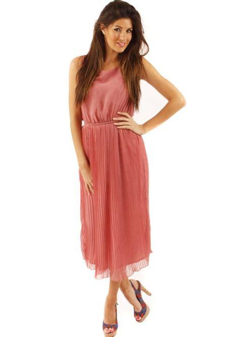 Midi Maxi Dress pink pleated open back dress dresses shop maxi dresses