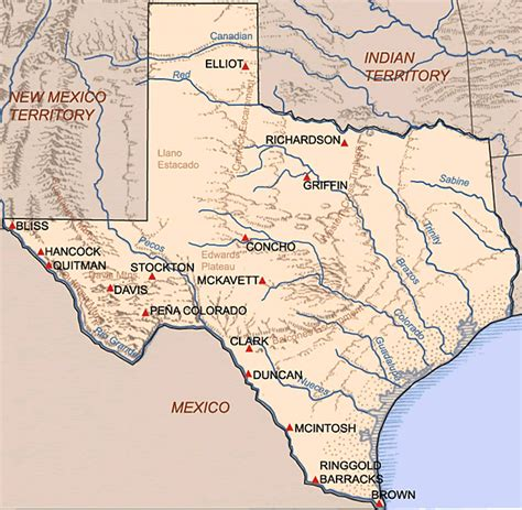 indian reservations texas map frontier forts