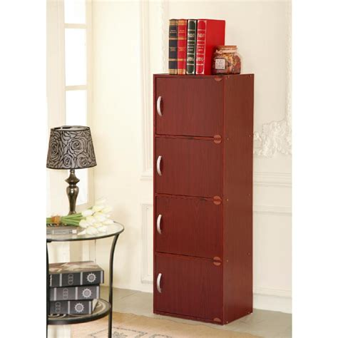 4 shelf bookcase with doors hodedah 4 shelf 47 in h mahogany bookcase with doors