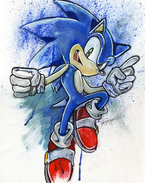 painting sonic sonic the hedgehog by lukefielding on deviantart