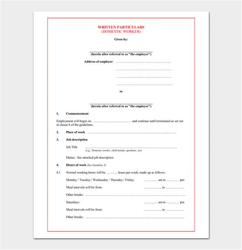 standard contract of employment template contract template 4 sle agreements for word pdf
