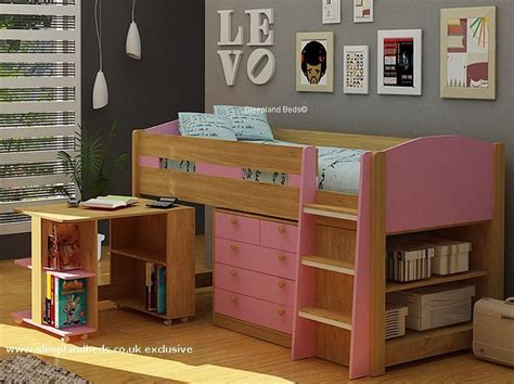 white cabin bed with desk mayfair midsleeper with storage desk oak pink blue