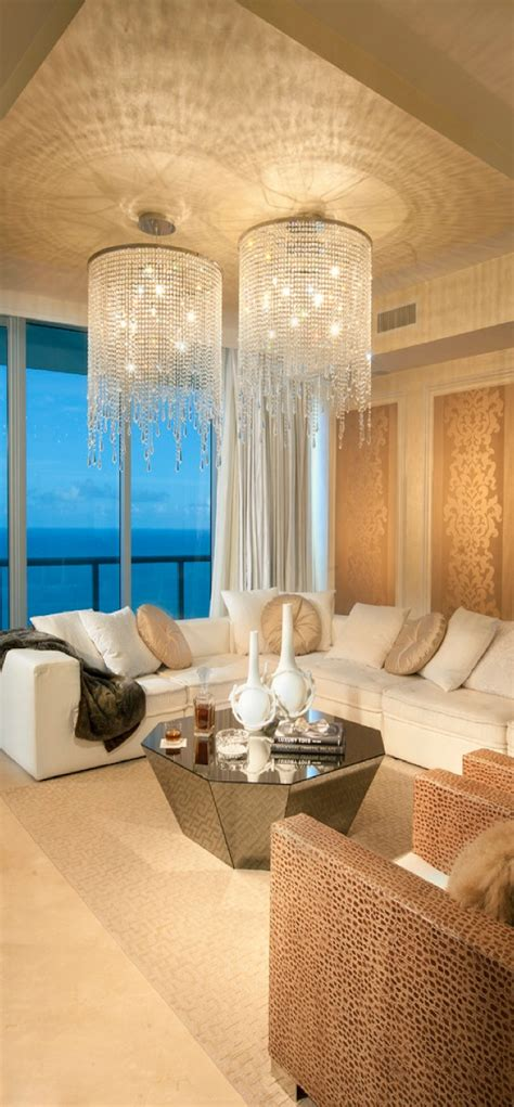 fashionably living room with luxury chandelier for