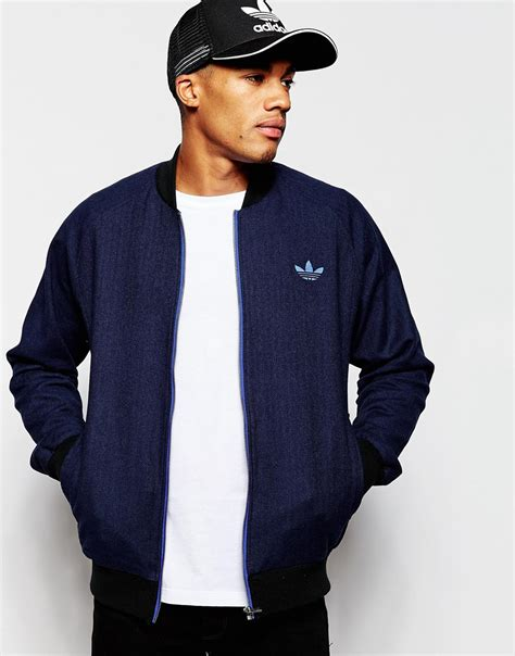 Jaket Outware Navy Original lyst adidas originals tweed bomber jacket ab7640 in blue for