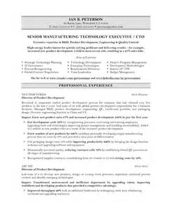 Cto Resume Exle by Chief Technology Officer Resume Sle