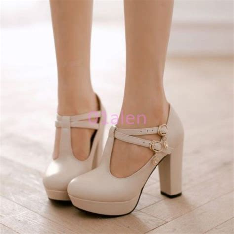 high heels with thick heels womens retro high thick heel t bar janes