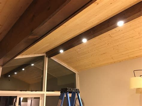 lights in ceiling beams pine faux beam with recessed lighting dave eddy